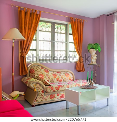 purple cozy living room modern contemporary style interior in Asian home - stock photo