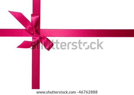 purple cross ribbon with bow isolated on white background