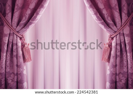 purple curtain background, with a  tassell. - stock photo