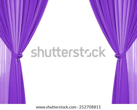purple curtain isolated on white background. - stock photo