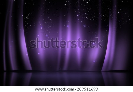 Purple curtain on stage with sparkling stars - stock photo
