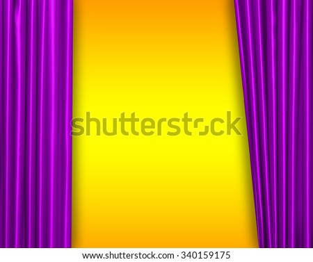 Purple curtain on theater or cinema stage slightly open - stock photo