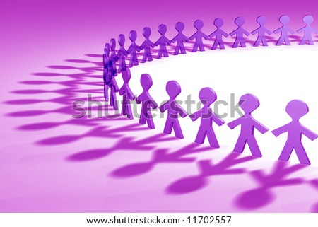 Purple 3D people in a circle shape