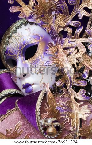 purple decorative venetian mask - stock photo
