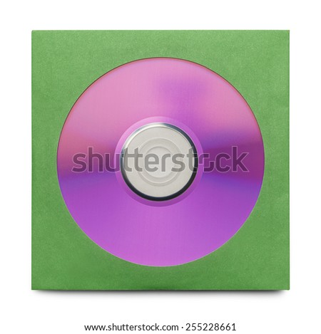 Purple Disc in Green Case Isolated on a White Background. - stock photo