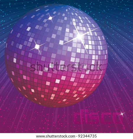Purple disco ball on dark background with shining rays of light - raster version of vector ID 88193884 - stock photo