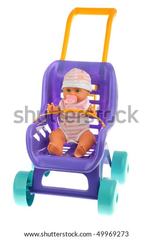 Purple doll pram with cyan wheels and orange handle isolated on pure white background - stock photo
