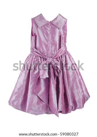 Purple dress for girls isolated with clipping path on white