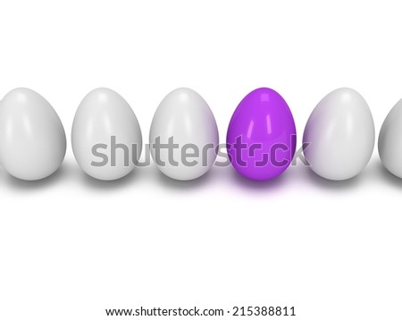 Purple egg in a row of the white eggs. 3D render. Easter out of crowd business concept - stock photo