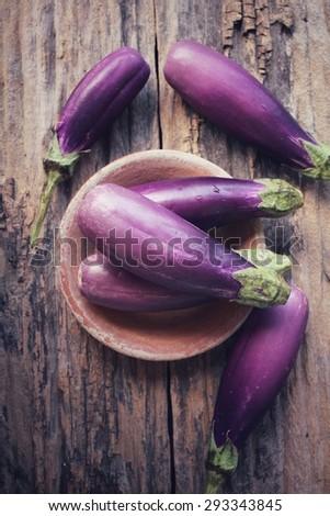Purple eggplants - stock photo
