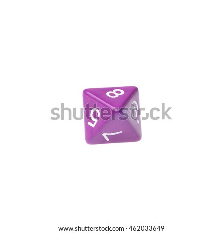 Purple eight sided dice for board games