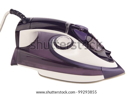 purple electric steam iron isolated on white background