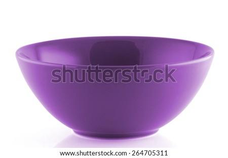 purple  empty bowl isolated on white background - stock photo