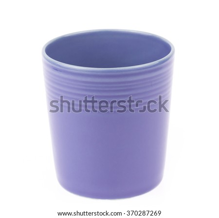 Purple empty coffee cup isolated on white background
