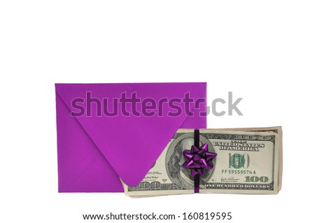 Purple Envelope Bow Hundred Dollars Bills US Currency Isolated on White Background - stock photo