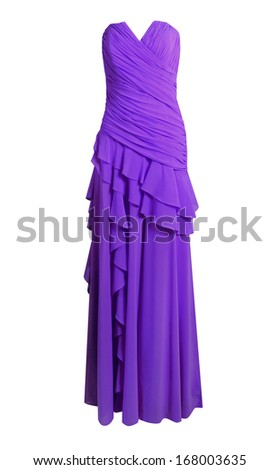 Purple evening dress isolated on white - stock photo