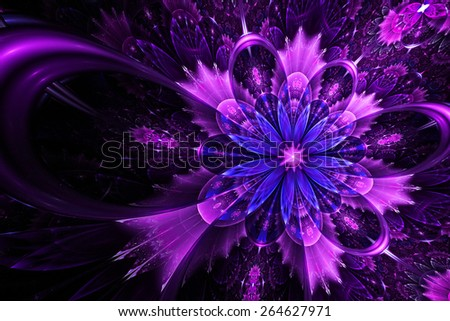 purple fantasy artistic flower with lighting effect. Beautiful shiny futuristic background for wallpaper, interior, album, flyer cover, poster, booklet. Fractal artwork for creative design. - stock photo