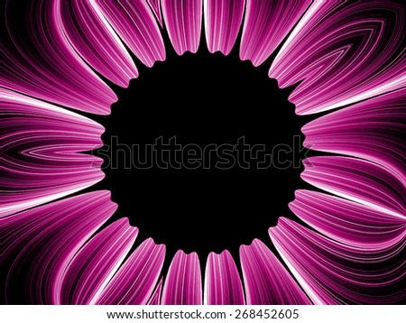 purple fantasy artistic flower with lighting effect. Beautiful shiny futuristic background for wallpaper, interior, album, flyer cover, poster, booklet. Fractal artwork for creative design - stock photo