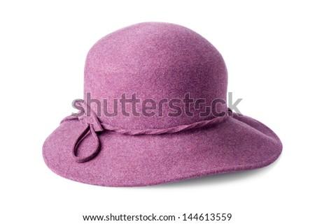 purple female felt hat isolated on white background - stock photo