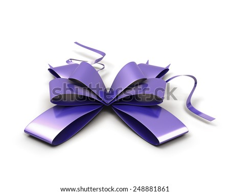 Purple festive bow isolated on white background. 3d render image. - stock photo