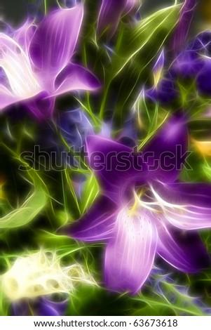 Purple Flower Blooms A fractal filtered image of purple flower blooms. Vertical. - stock photo
