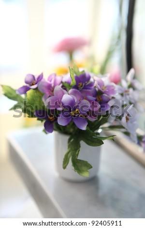 Purple flower in jar - stock photo