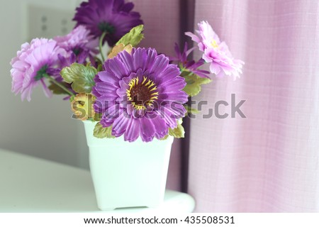 Purple Flowers Artificial White Vase Placed Stock Photo Royalty