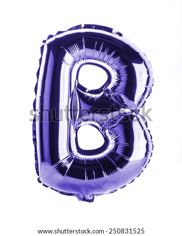 Purple foil balloon letter part of full set in the shape of a capitol B - stock photo