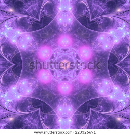 Purple fractal mandala, digital artwork for creative graphic design - stock photo