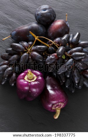 purple fruits and vegetables - stock photo