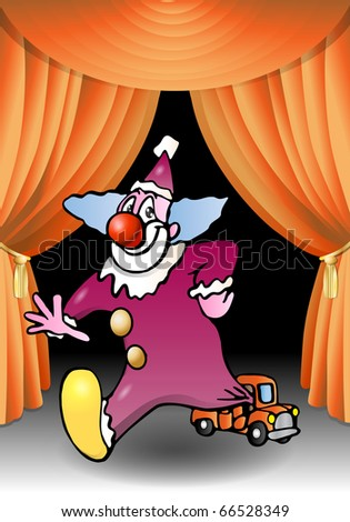 purple funny clown come out from a tiny car illustration - stock photo