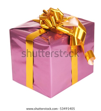 Purple gift box, isolated on white background