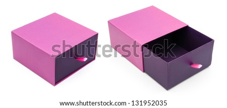 purple gift box opened and closed on white - stock photo