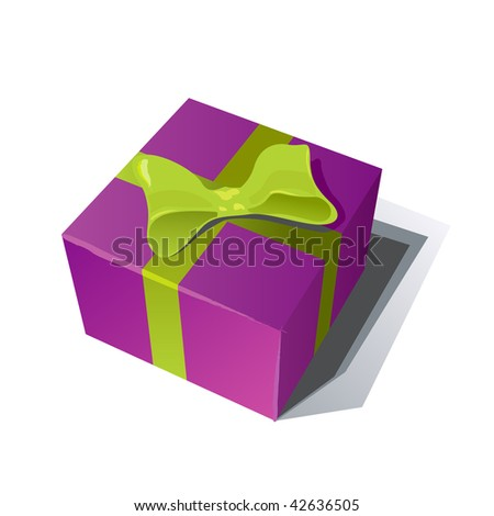 purple gift box with green ribbon isolated on white background