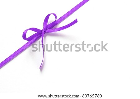 purple gift ribbon with bow isolated on white background - stock photo