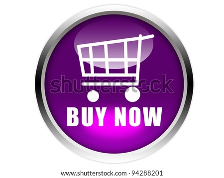 purple glossy button with white trolley icon and buy now words isolated over white background - stock photo