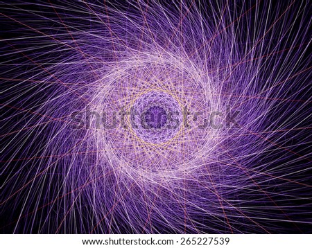 Purple glowing fractal wheel, computer generated abstract background - stock photo