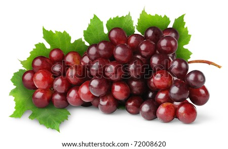 Purple grape isolated on white - stock photo