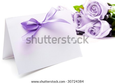 Purple greeting card and roses - stock photo