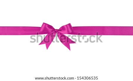 purple handmade ribbon with bow, isolated on white