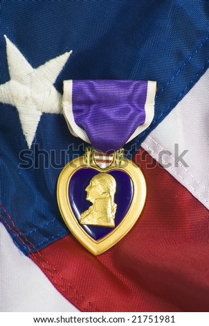 Purple heart awarded for wounds in combat - stock photo