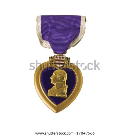 Purple Heart medal, awarded for wounds received in combat. Isolated with a clipping path - stock photo