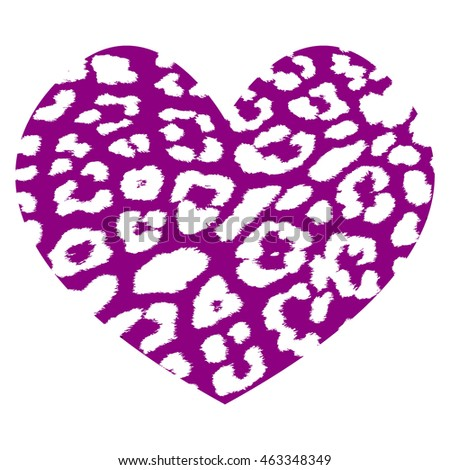 Purple heart shape with white tiger skin pattern