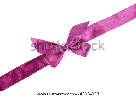 purple holiday ribbon on white background