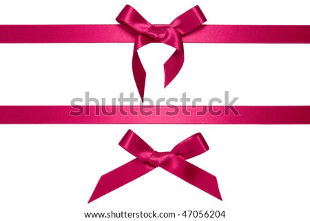 purple horizontal ribbons with bow isolated on white