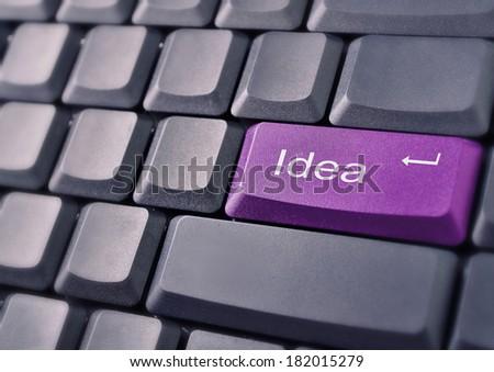 Purple idea button on keyboard - stock photo