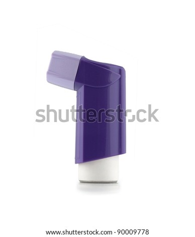 purple inhaler with a cover vertically isolated on a white background - stock photo