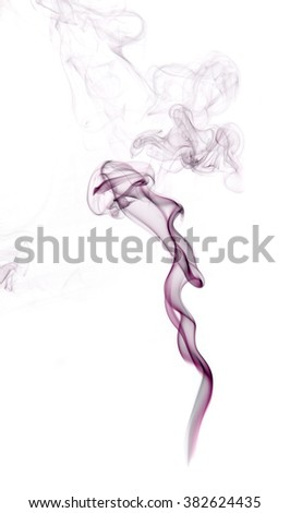 Purple insence smoke on white background with free space for your text. - stock photo
