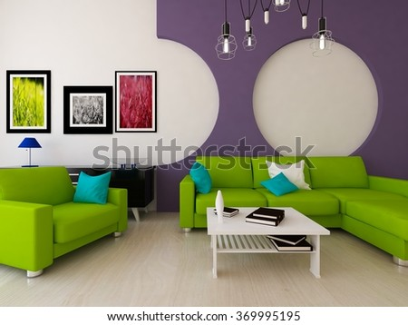 purple interior with green sofa. 3d illustration - stock photo