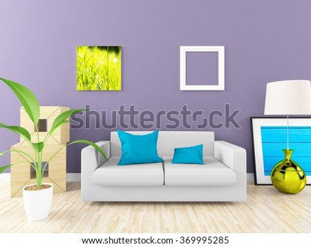 purple interior with sofa. 3d illustration - stock photo